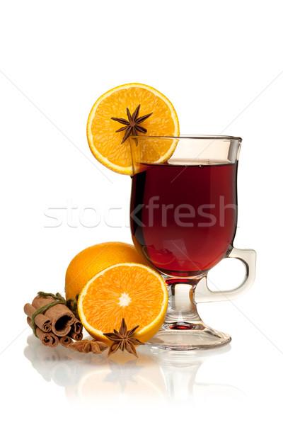 ストックフォト: ホット · ワイン · オレンジ · アニス · シナモン · 孤立した