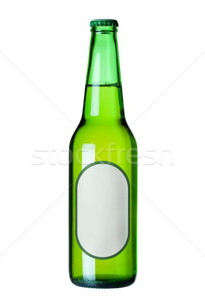 Piwo jasne pełne piwa zielone butelki etykiety odizolowany Zdjęcia stock © karandaev