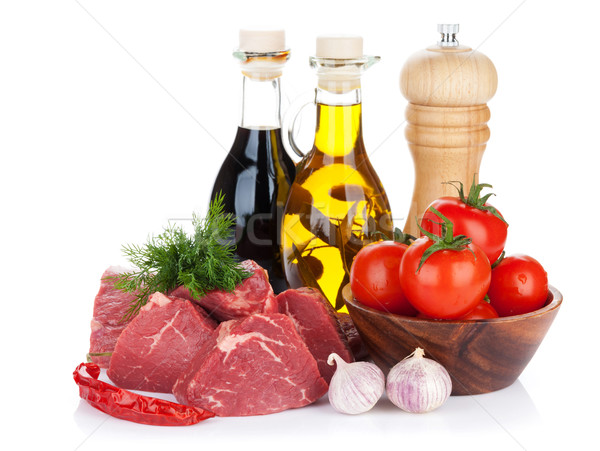 Fillet steak beef meat with spices and condiments Stock photo © karandaev