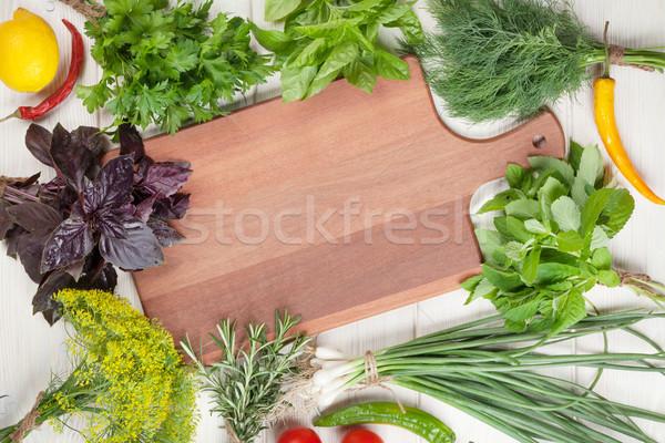 Fresh garden herbs and spices Stock photo © karandaev
