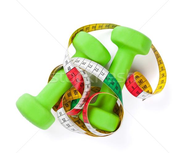 гантели рулетка фитнес изолированный белый здоровья Сток-фото © karandaev