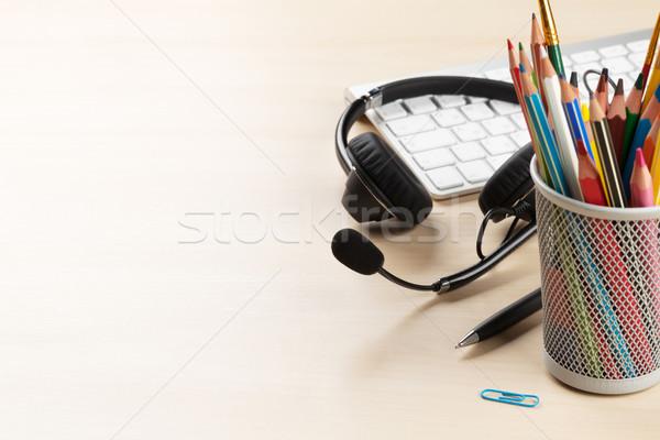 Office desk with headset. Call center Stock photo © karandaev