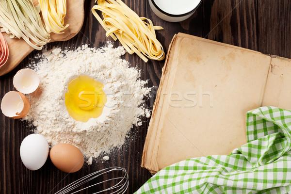Jahrgang Rezept Buch Besteck Zutaten Kochen Stock foto © karandaev