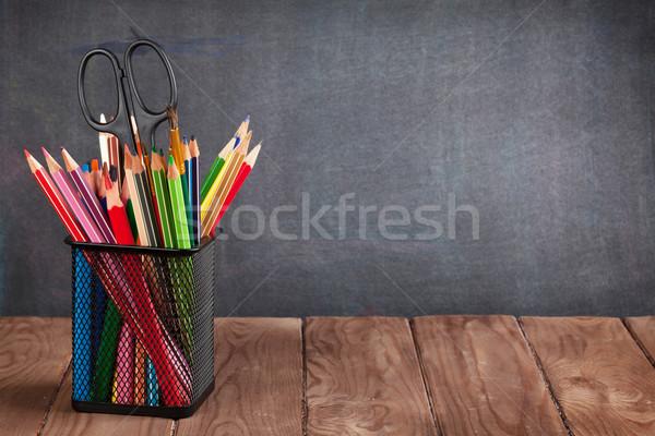 Iskola irodaszerek osztályterem asztal iskolatábla kilátás Stock fotó © karandaev