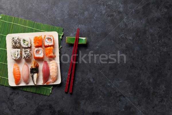 набор суши маки катиться каменные таблице Сток-фото © karandaev