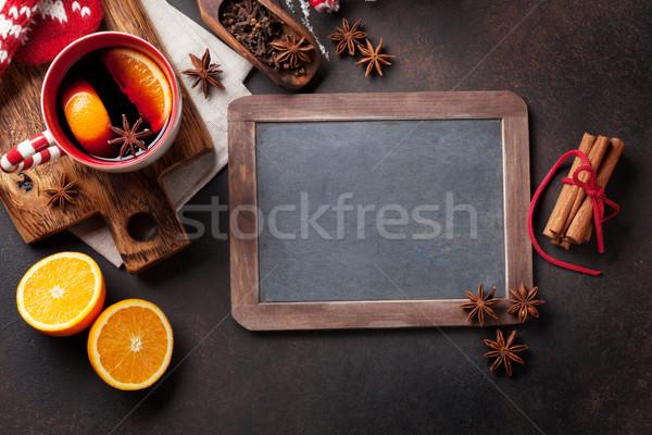 Stockfoto: Christmas · wijn · ingrediënten · top · krijt
