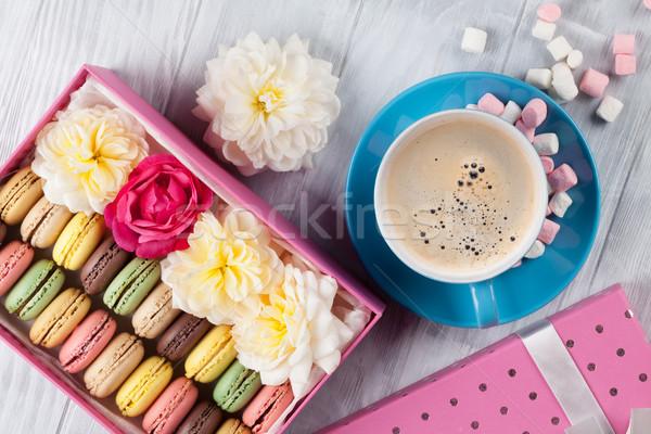 Colorful macaroons, coffee. Sweet macarons Stock photo © karandaev