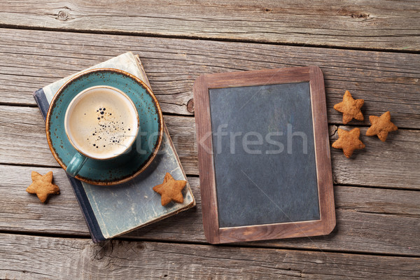 Stock photo: Coffee cup and cookies