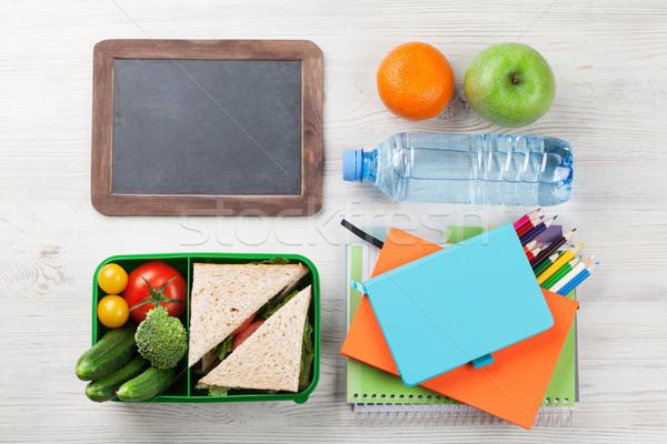 Obiad polu przybory szkolne warzyw kanapkę drewniany stół Zdjęcia stock © karandaev