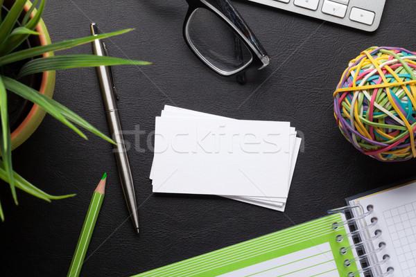 Névjegyek űr szöveg irodai asztal számítógép készlet Stock fotó © karandaev