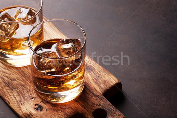 Whisky lodu kopia przestrzeń tle pić relaks Zdjęcia stock © karandaev
