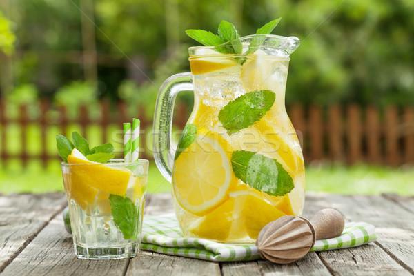 лимонад лимона мята льда саду таблице Сток-фото © karandaev