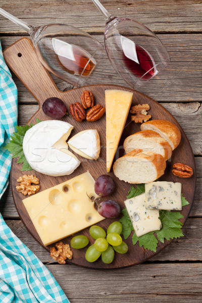 Stock photo: Wine, grape and cheese