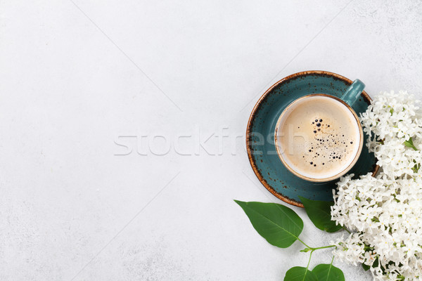 White lilac flowers and coffee cup Stock photo © karandaev