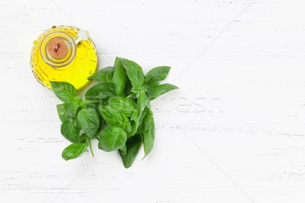 İtalyan mutfağı fesleğen zeytinyağı üst görmek uzay Stok fotoğraf © karandaev