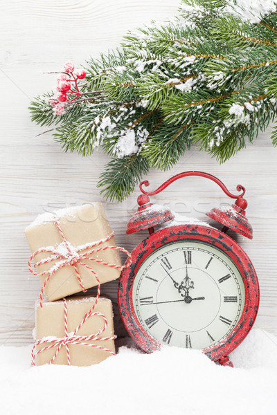 Noël coffrets cadeaux réveil branche couvert Photo stock © karandaev