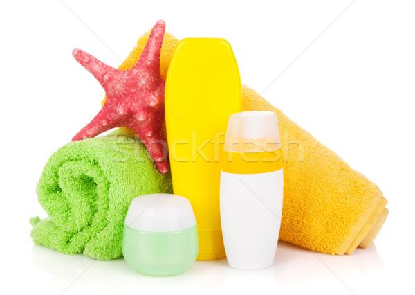 Bagno bottiglie asciugamano starfish isolato bianco Foto d'archivio © karandaev
