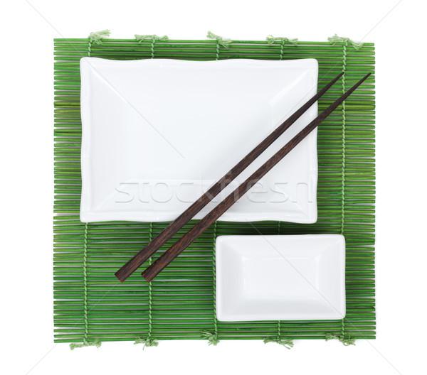 Çin yemek çubukları bambu yalıtılmış beyaz gıda Stok fotoğraf © karandaev