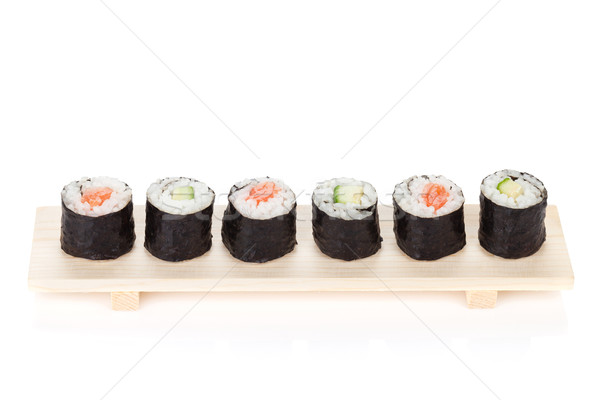 Sushi maki salmone cetriolo isolato bianco Foto d'archivio © karandaev