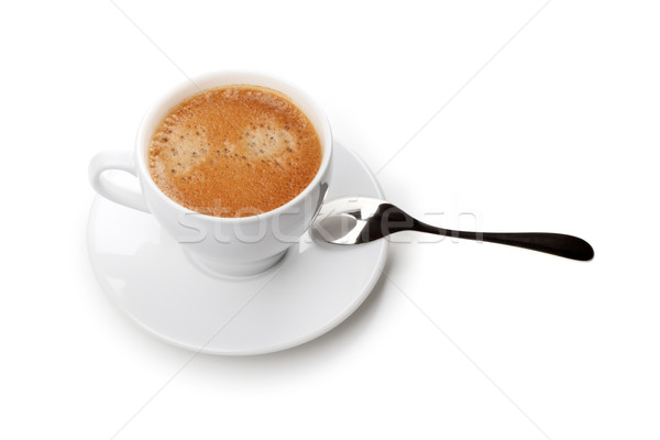 Cappuccino cup with spoon. Above view Stock photo © karandaev