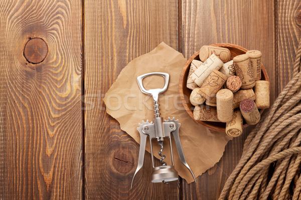 ワイン コークスクリュー 素朴な 木製のテーブル 先頭 表示 ストックフォト © karandaev