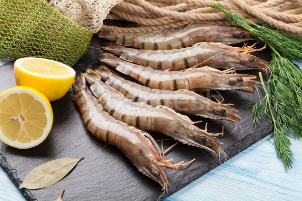 Fraîches brut tigre crevettes pêche équipement Photo stock © karandaev