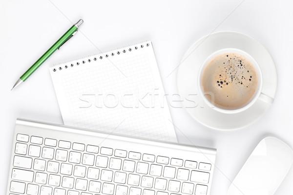 Stok fotoğraf: Tablo · bilgisayar · kahve · fincanı · üst