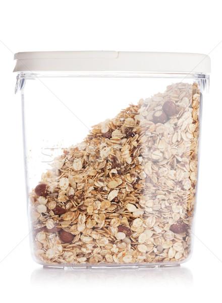 мюсли изолированный белый стекла еды контейнера Сток-фото © karandaev