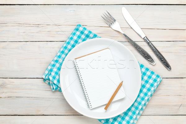 帳 レシピ 空っぽ プレート 銀食器 白 ストックフォト © karandaev