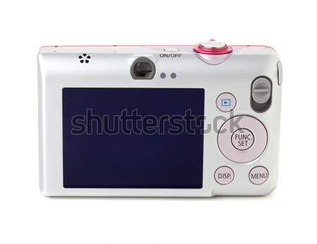 цифровая камера вид сзади изолированный белый женщину девушки Сток-фото © karandaev