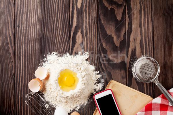 Stół kuchenny składniki przybory książka kucharska vintage przepis Zdjęcia stock © karandaev
