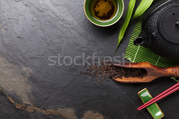 アジア 茶 ボウル ティーポット 石 表 ストックフォト © karandaev