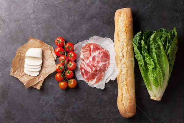 Ciabatta sandwich cooking Stock photo © karandaev