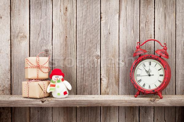 Noel hediye kutuları çalar saat kardan adam oyuncak ahşap Stok fotoğraf © karandaev