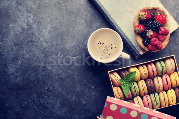 Stock photo: Colorful macaroons, berries and coffee