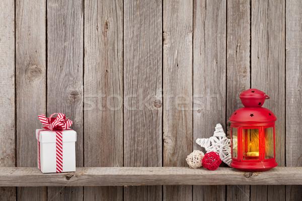Christmas kaars lantaarn geschenk geschenkdoos Stockfoto © karandaev