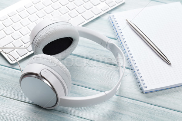Headphones, notepad and pc Stock photo © karandaev