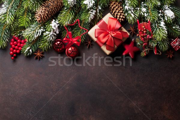 Noël neige pierre coffret cadeau Photo stock © karandaev