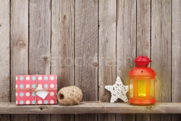 Сток-фото: Рождества · свечу · фонарь · подарок
