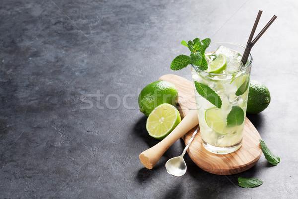 Stockfoto: Mojito · cocktail · donkere · steen · tabel · exemplaar · ruimte