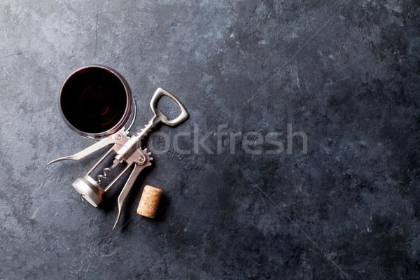 Vörösbor üveg dugóhúzó kő felső kilátás Stock fotó © karandaev