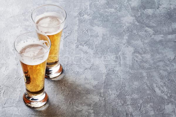 Alman birası bira gözlük taş tablo bo Stok fotoğraf © karandaev