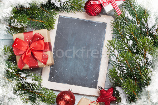 Noël tableau coffret cadeau table en bois Photo stock © karandaev