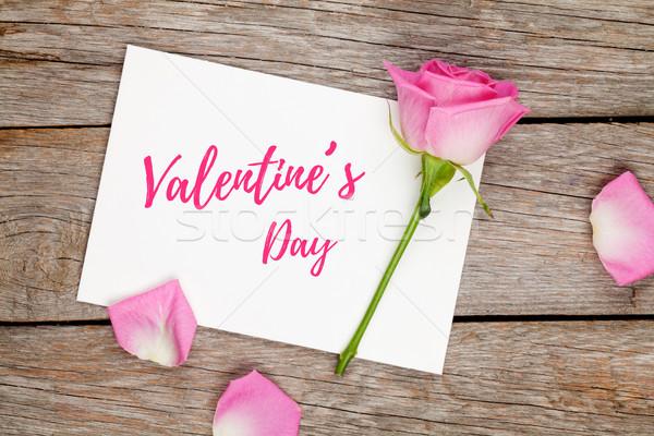 バレンタインデー グリーティングカード フォトフレーム ピンクのバラ 木製のテーブル 先頭 ストックフォト © karandaev
