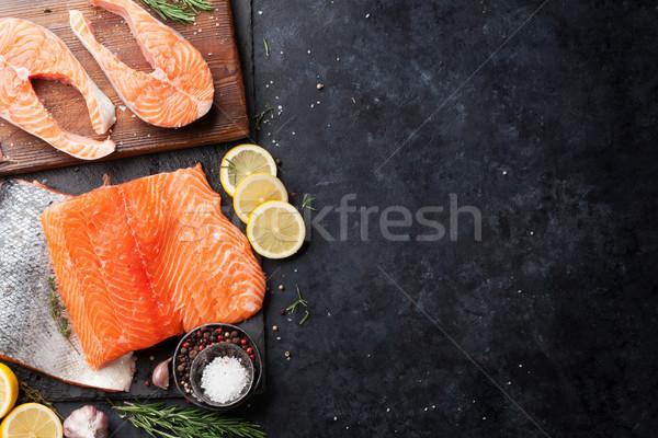 Raw salmon fish steaks Stock photo © karandaev