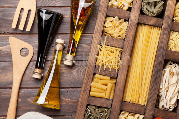 Stock photo: Various pasta and condiments