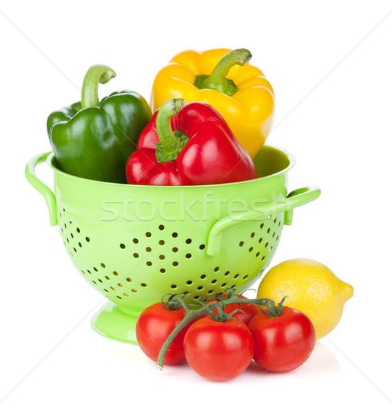 Fresh ripe vegetables in colander Stock photo © karandaev
