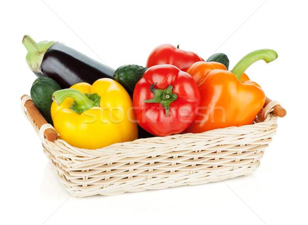 Stock fotó: Friss · érett · zöldségek · kosár · izolált · fehér