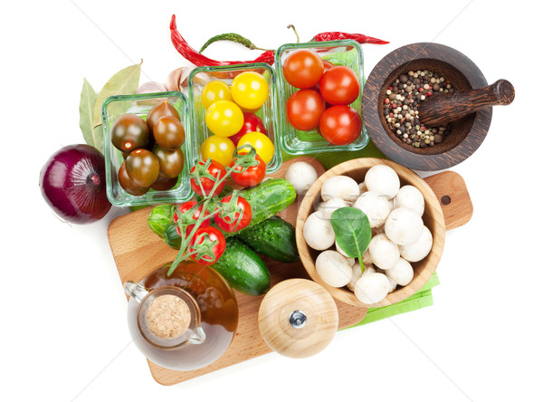 Vers ingrediënten koken tomaat komkommer champignon Stockfoto © karandaev