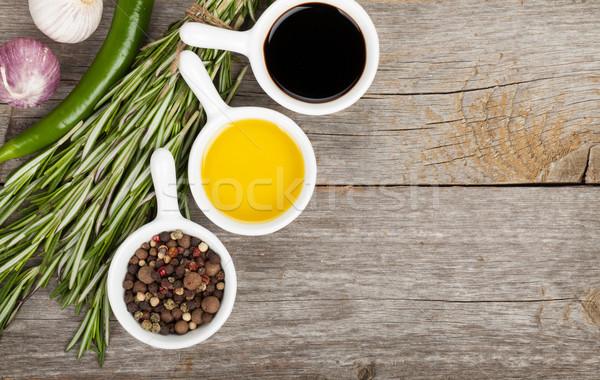 Olive oil and vinegar with spices Stock photo © karandaev